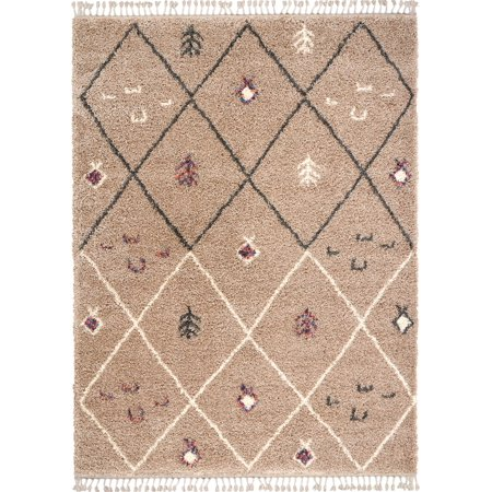 Nourison Nordic Shag Diamonds Tan Area Rug
