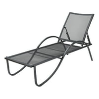 Mainstays Keaton Outdoor Metal Mesh Chaise Lounge, Black
