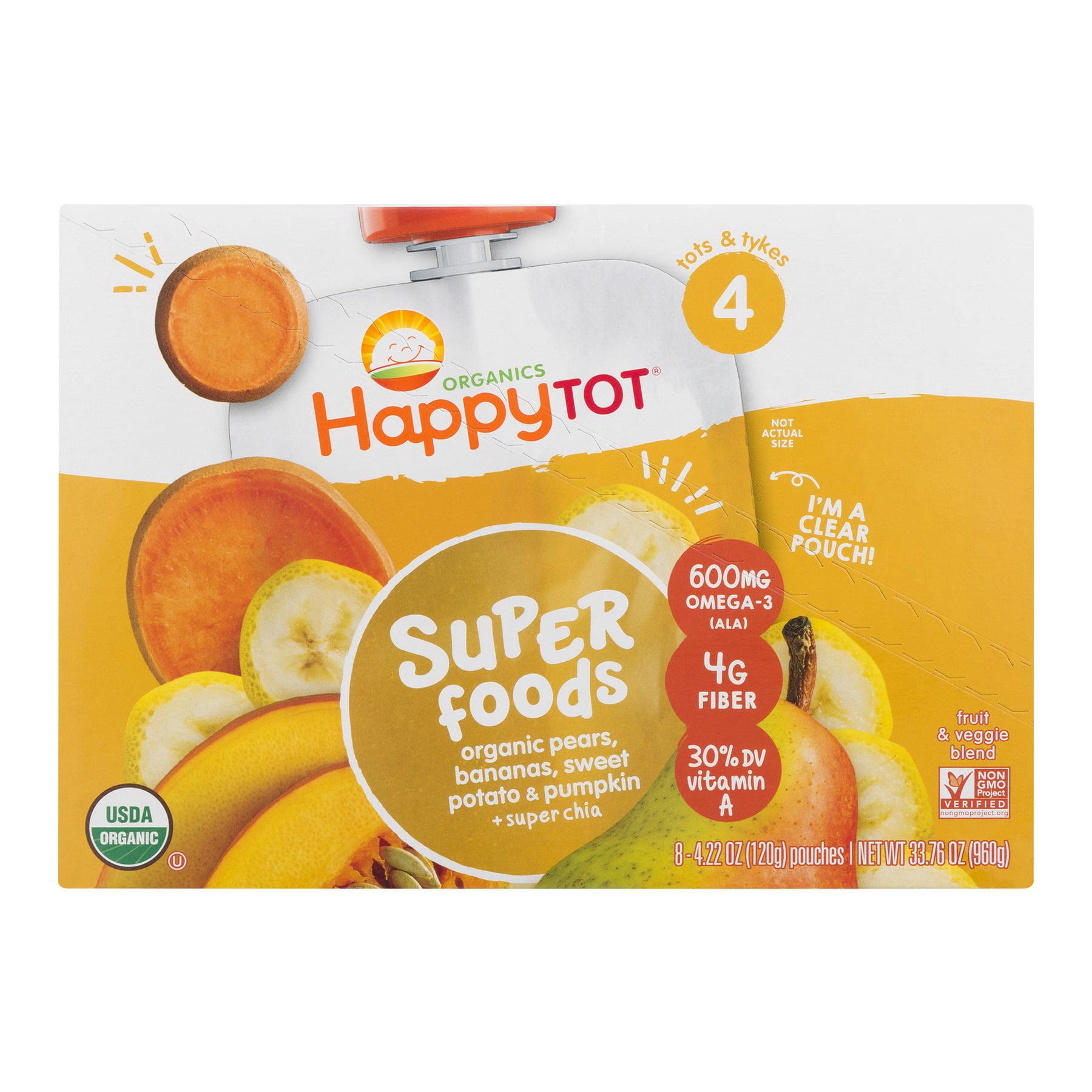 Happy Tot Super Foods Pouches Organic Pears, Bananas, Sweet Potato & Pumpkin + Super Chia, 4.22 OZ