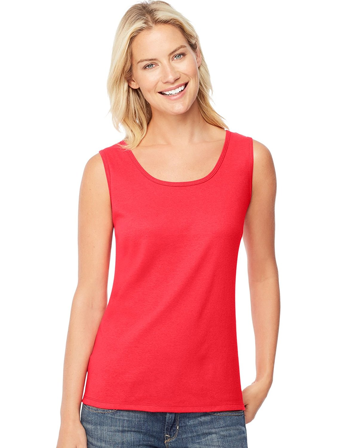 Womens Mini-Ribbed Cotton Tank O9341, XL, Red Spark, Super-soft mini-ribbed fabric comes in 100% pure cotton By Hanes