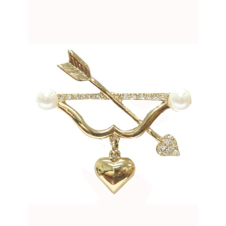 Cupid Bow and Arrow Brooch Pin with Faux Pearls & - Bow And Arrow Cupid