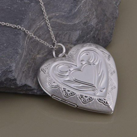 ON SALE - Lovely Embossed Oversize Sterling Silver Heart Locket Necklace Sterling - Oversized Necklace