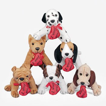 Plush Dogs With Heart Valentine S Day Stuffed Animals Toys