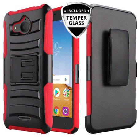 Alcatel Tetra Case with Tempered Glass Screen Protector, SOGA Belt Clip  Holster Rugged Armor Shock Proof Phone Cover Shockproof Compatible for  Alcatel