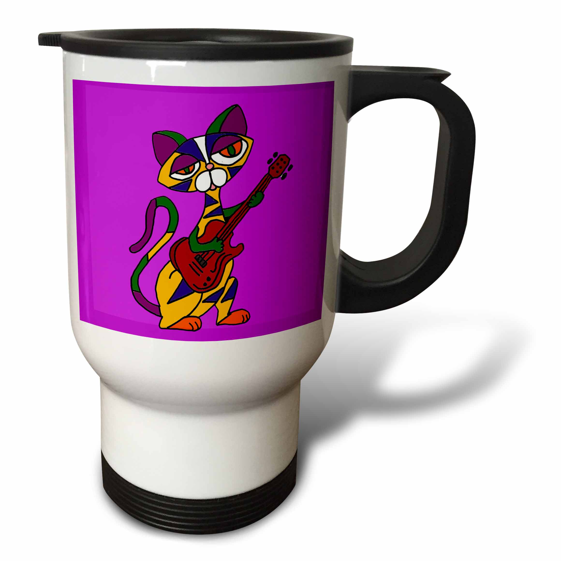 3dRose Funny Psychedelic Cat Playing Red Electric Guitar Art, Travel Mug, 14oz, Stainless Steel