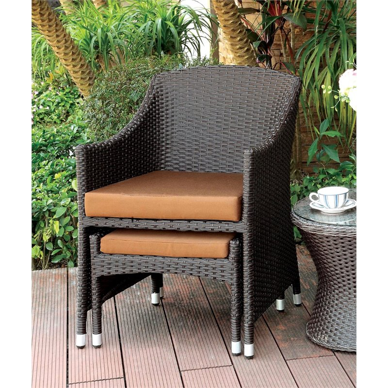 Bowery Hill Patio Wicker Arm Chair with Ottoman
