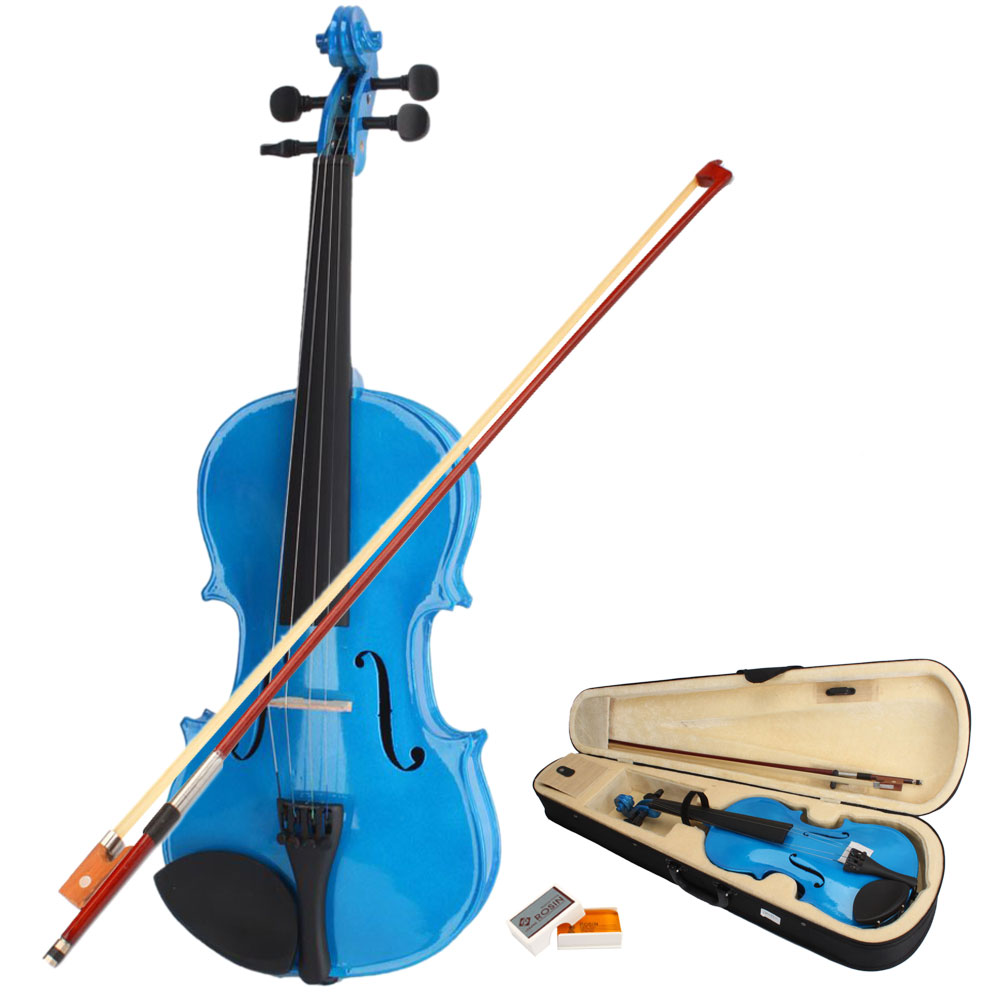Ktaxon 4/4 Dark Blue Acoustic Violin Fiddle with Hard Case, Bow, Rosin Full Size for beginning