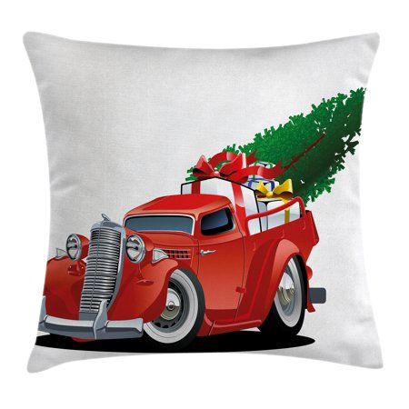Christmas Throw Pillow Cushion Cover, Vintage American Truck with Large Xmas Tree and Gift Boxes in Pickup Retro Motor, Decorative Square Accent Pillow Case, 18 X 18 Inches, White Red, by Ambesonne