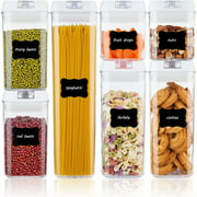 Airtight Food Storage Containers, 7 Pieces BPA Free Plastic Cereal Containers with Easy Lock Lids, for Kitchen Pantry Organization and Storage