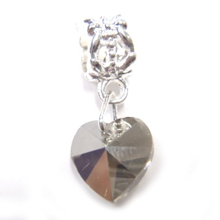 Fused Glass Dangle (3 Beads - Clear Electroplated Crystal Heart Dangle Glass Silver European Bead Charm E1211 )