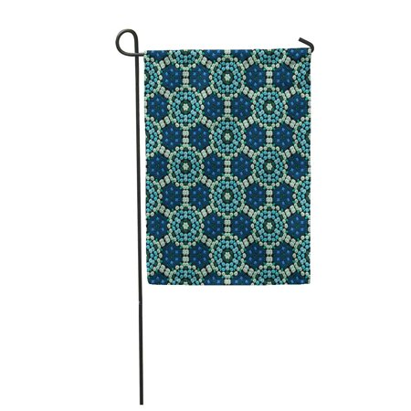 Blue Beadwork (LADDKE Blue Hexagon Continuous Pattern of Beadwork Ball Bead Beaded Garden Flag Decorative Flag House Banner 12x18 inch )