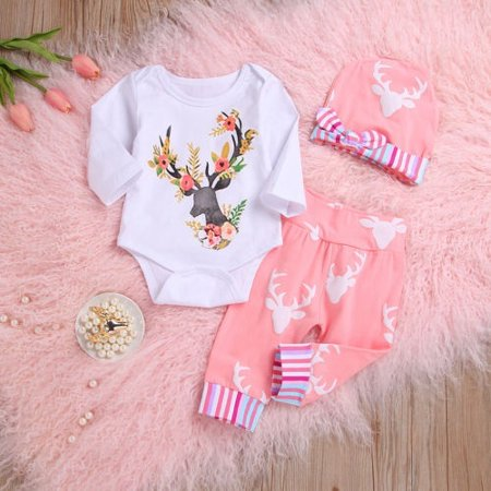 Christmas Newborn Baby Girls Floral Deer Long Sleeve Romper Pants Hat 3pcs Outfit Set Clothes 0-12M Long Romper Set
