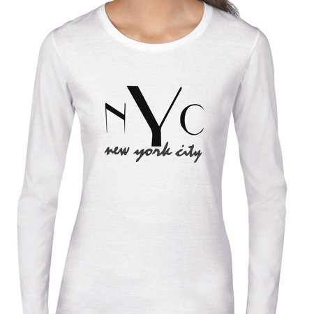 - NYC New York City Stylish Large Font Women's Long Sleeve T-Shirt