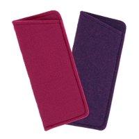 2 Pack Soft Felt Eyeglass Slip Cases, Fits Small To Medium Glasses, Pink & Purple