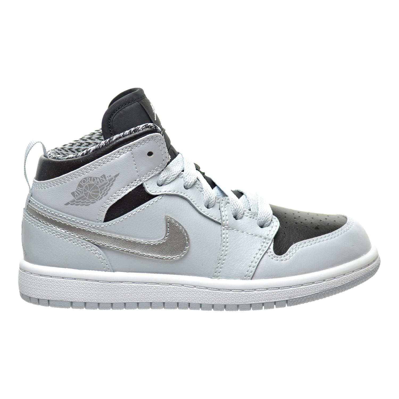Jordan 1 Mid BP Little Kid's Shoes Pure Platinum/White/Metallic Silver/Black 640734-032