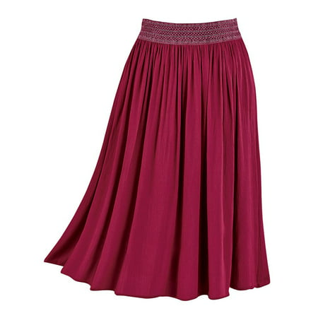 Solid Circle Skirt - Women's Easy-Fit Crinkle Skirt, Pull-On with Embroidered Waist, Stretchy, Solid Colors, X-Large, Wine