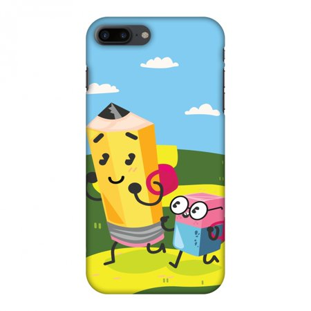 iPhone 8 Plus Case - Cute Pencil & Eraser, Hard Plastic Back Cover. Slim Profile Cute Printed Designer Snap on Case with Screen Cleaning Kit](Iphone Eraser)