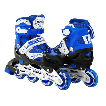 Size 2-4 Adjustable Kids Light Up Inline Skates Blue (Light Up Roller Skate Necklace)