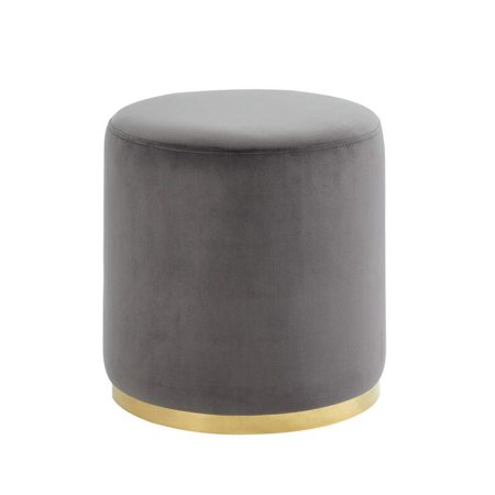 Super Grey Gold Velvet Round Ottoman Caraccident5 Cool Chair Designs And Ideas Caraccident5Info