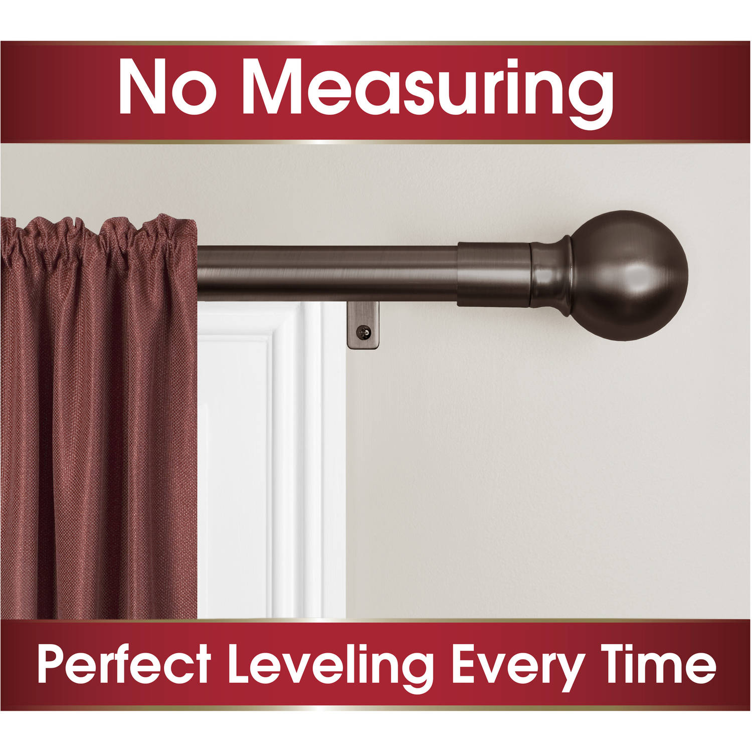 Smart Rods Easy Install Curtain Curtain Rod, Ball Finial
