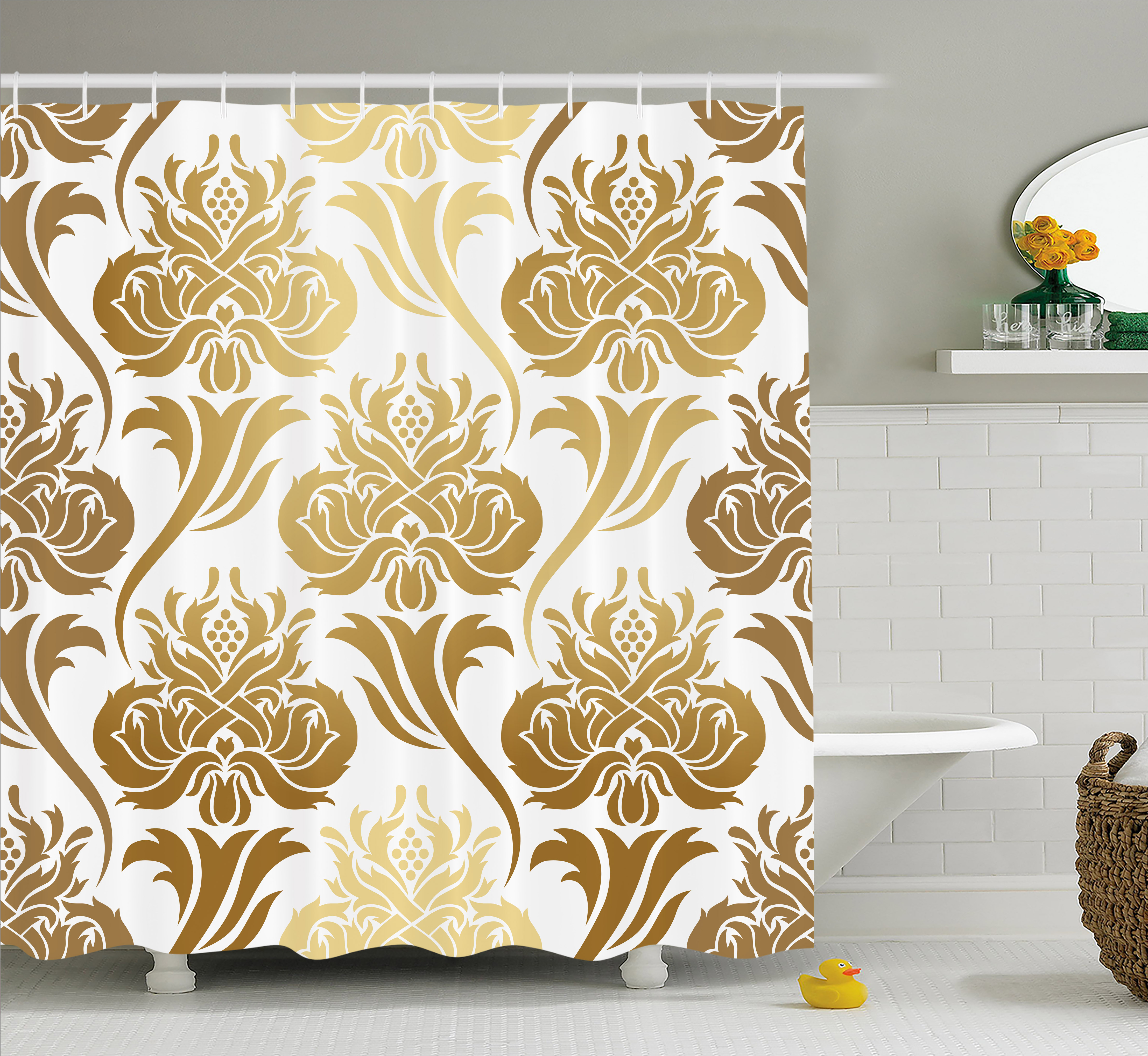 Gold And White Shower Curtain, Damask Ombre Abstract Image With Floral  Asian Inspired Details Print