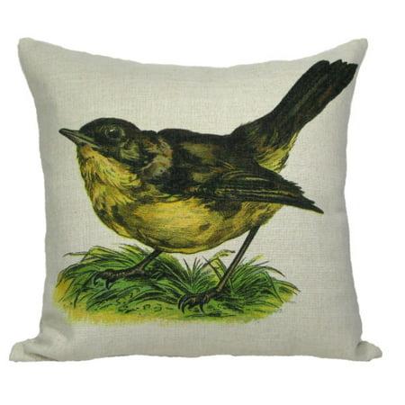 "Vintage Springtime Wren Bird Antique Style Decorative Accent Throw Pillow with Insert 18"""