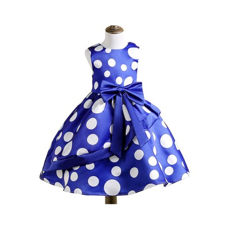 Kids Girls Dot Printed Waist Bow Ball Gown Dress