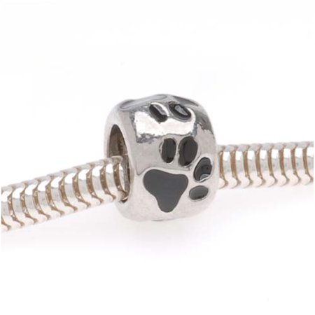 Silver Tone European Style Large Hole Bead With Black Enamel Paw Prints