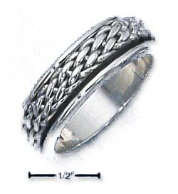 Sterling Silver Mens Antiqued Woven Spinner Band Ring - Ring Size: 08 to 13
