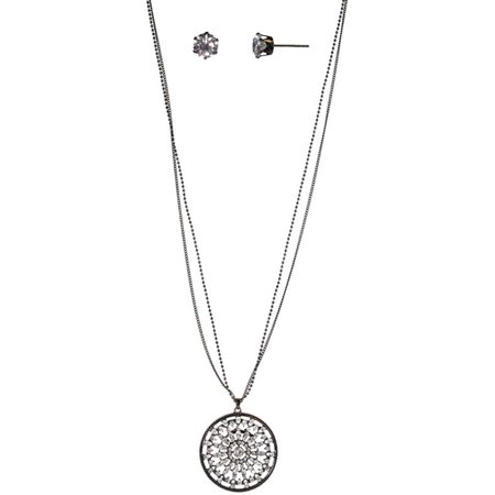 Charming Charlie Women's 30-Inch Hematite Pave Floral Circle Necklace and Earring Set - Engraved Logo Tag, 3-Inch Extender - Silver Hematite Necklace Earring