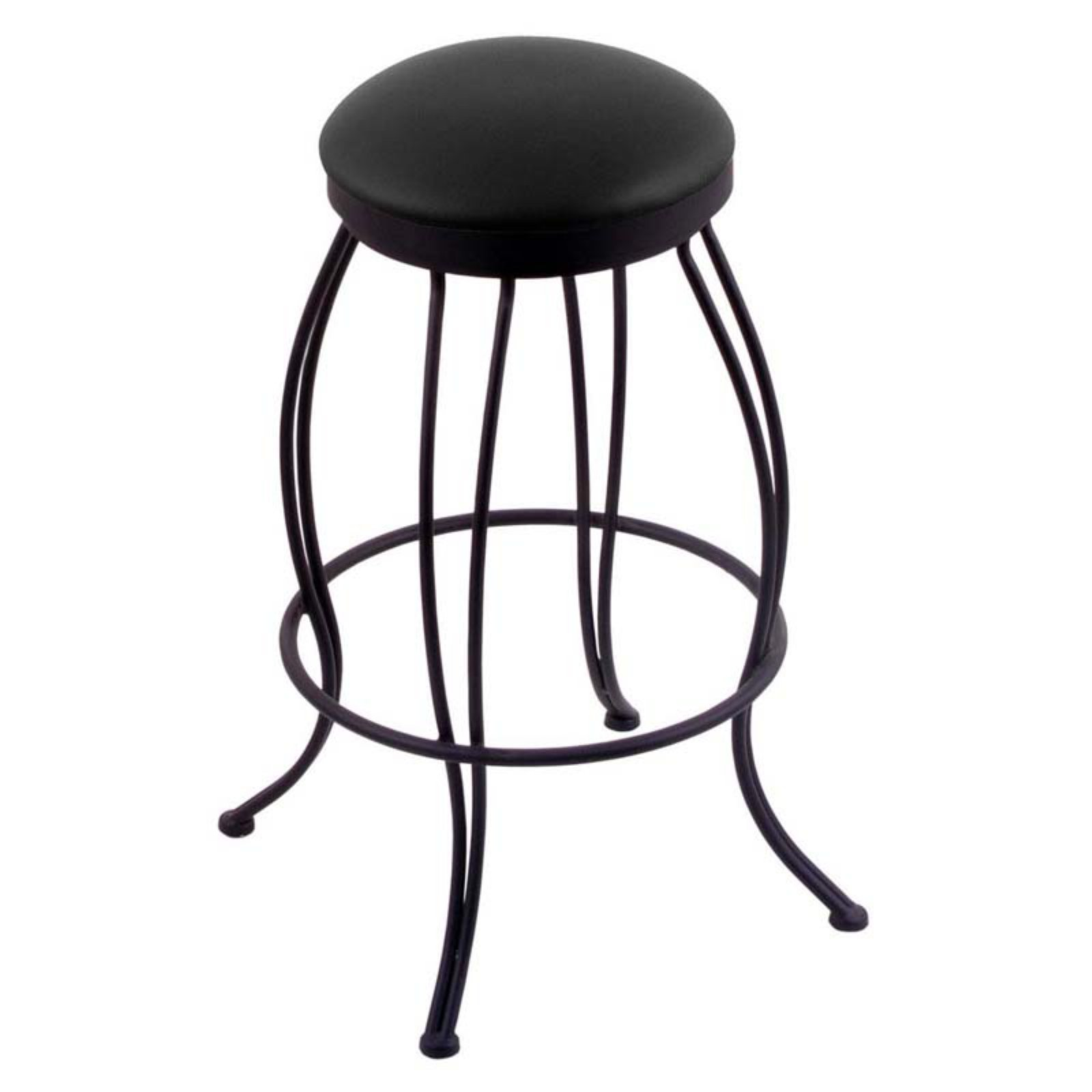 Holland Bar Stool Georgian 25 in. Swivel Counter Stool with Faux Leather Seat - Black Wrinkle