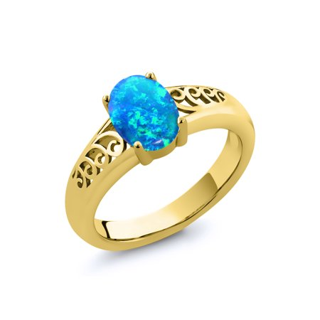 0.63 Ct Oval Cabochon Blue Simulated Opal 18K Yellow Gold Plated Silver (Blue Tourmaline Emerald)
