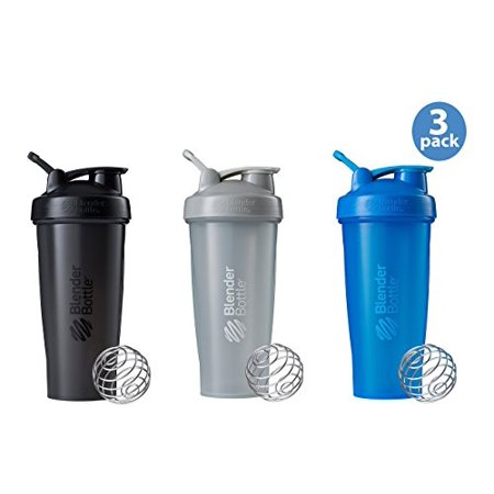 BlenderBottle Classic Loop Top Shaker Bottle 3-Pack, Blue/Grey/Black,  28-Ounce, Colors may vary