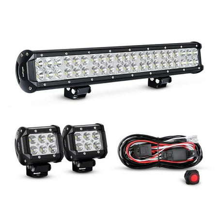Nilight 20 Inch 126W Combo LED Work Light Bar 2PCS 4 Inch 18W Spot Spot Fog Lights SUV Boat Jeep Driving Lamp with Wiring Harness -