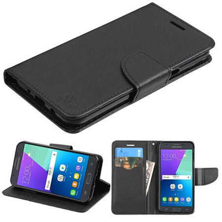 Flip Cover Set - Samsung Galaxy J3 Emerge, Galaxy J3 (2017) J327P, Galaxy Express Prime 2 Phone Case Magnetic Leather Flip Wallet Cover Stand Pouch Fold Book Folio with Credit Card / Cash Slots - BLACK