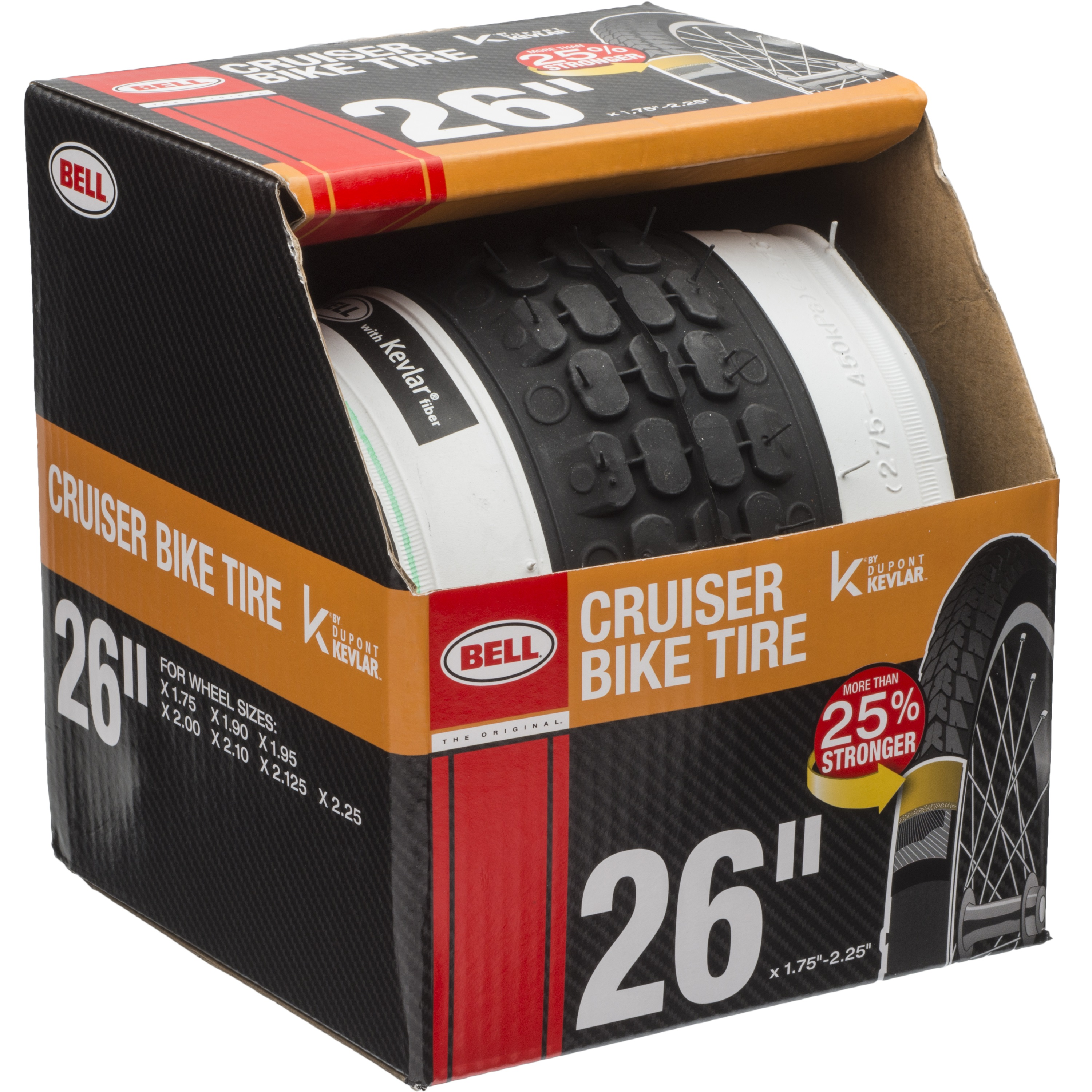 "Bell Sports Cruiser Glide Whitewall Bike Tire with Kevlar, 26"" x 1.75-2.25"""