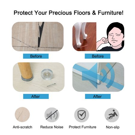 4pcs Rubber Feet Insert Metal Washer w Screws Furniture Leg Floor Protector 25mm - image 5 of 7
