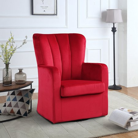 Modern Velvet Swivel Armchair, Rotating Accent Chair for Living Room with  Pleated Back (Red)