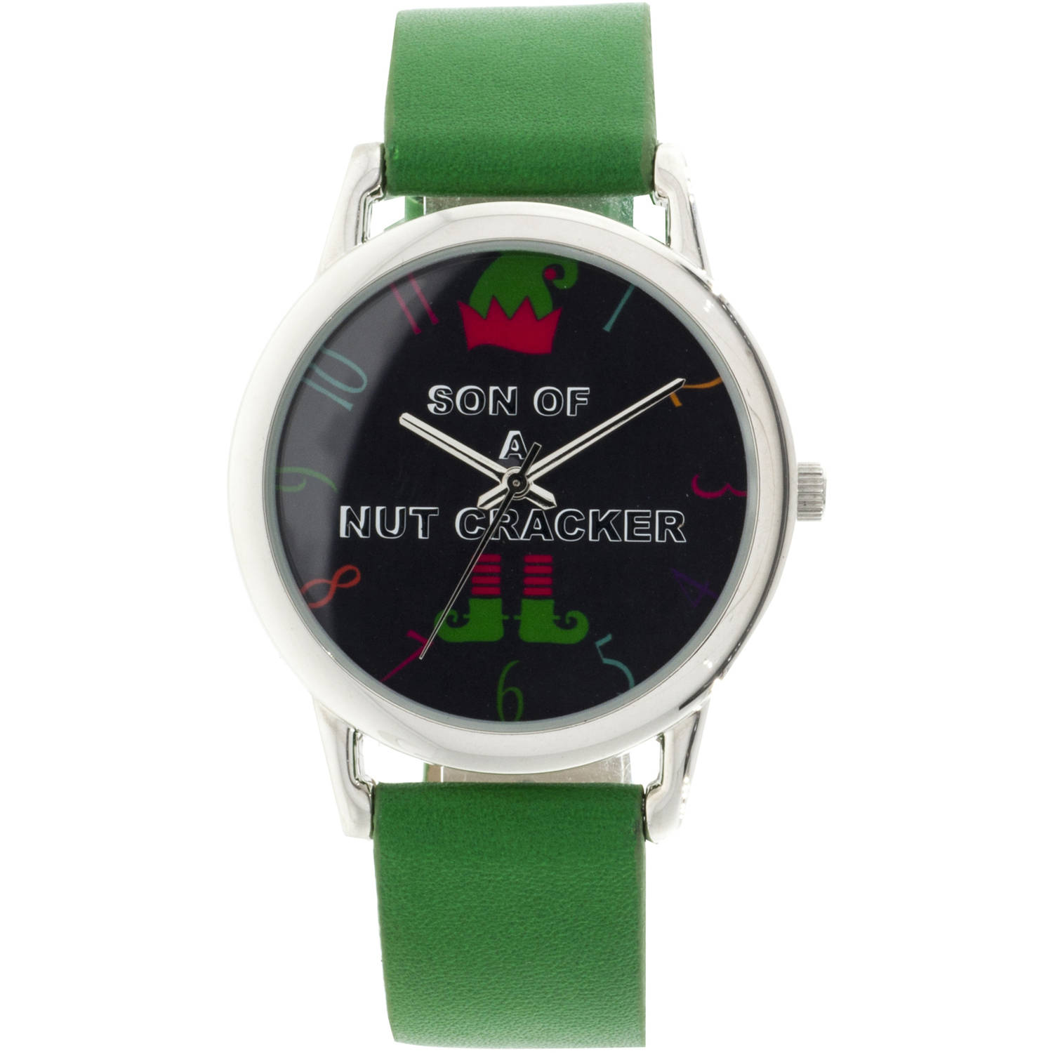 """Son of a Nutcracker""Round Silver Ugly Christmas Watch,Green Strap"