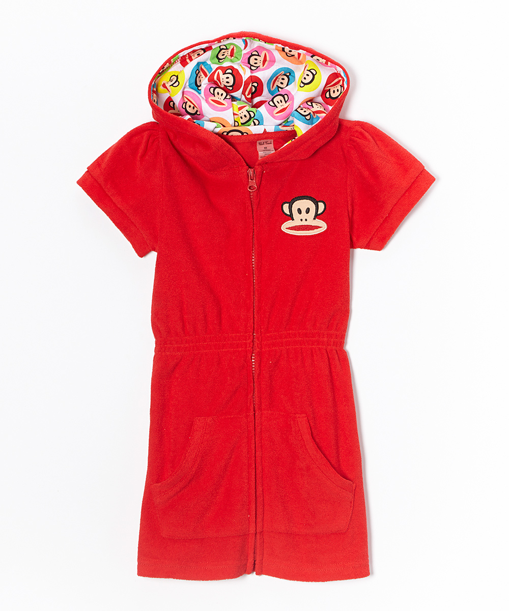Girls Paul Frank Zip Hoodie Dress Swimsuit Cover-up Red