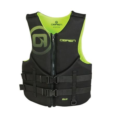 OBrien Biolite Series Traditional Mens Neoprene Life Vest Size XL, Black/Green