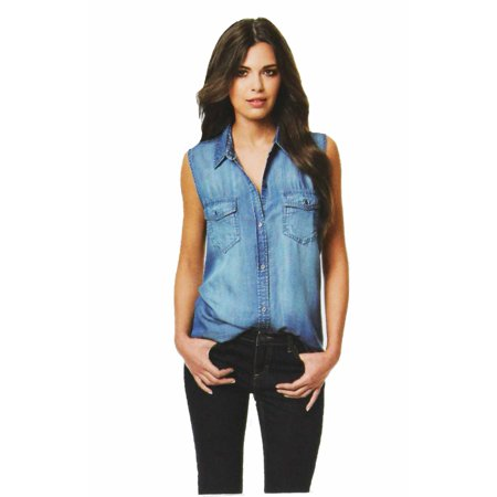 69d681998a90 Buffalo - Buffalo David Bitton Womens Sleeveless Button Down Denim Top  (Light Denim, Large) - Walmart.com