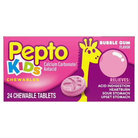 (2 Pack) Pepto Kid's Bubblegum Flavor Chewable Tablets for Heartburn, Acid Indigestion, Sour Stomach, and Upset Stomach for Children 24