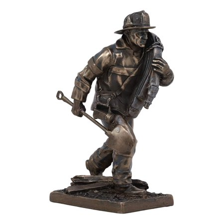 Fireman With Hose (Ebros Fireman in Action with Shovel and Hose Pipe Statue 7.25