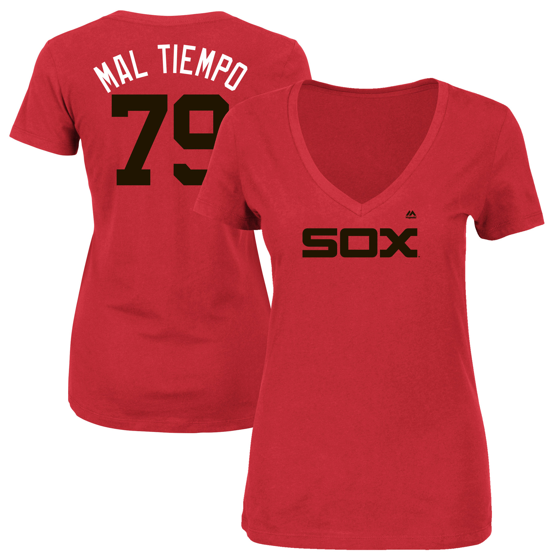 """Jose Abreu """"Mal Tiempo"""" Chicago White Sox Majestic Women's 2017 Players Weekend Name & Number T-Shirt - Red"""