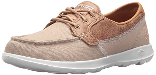 Skechers Performance Women's Go Walk Lite-15430 Boat Shoe,Natural,8 M US
