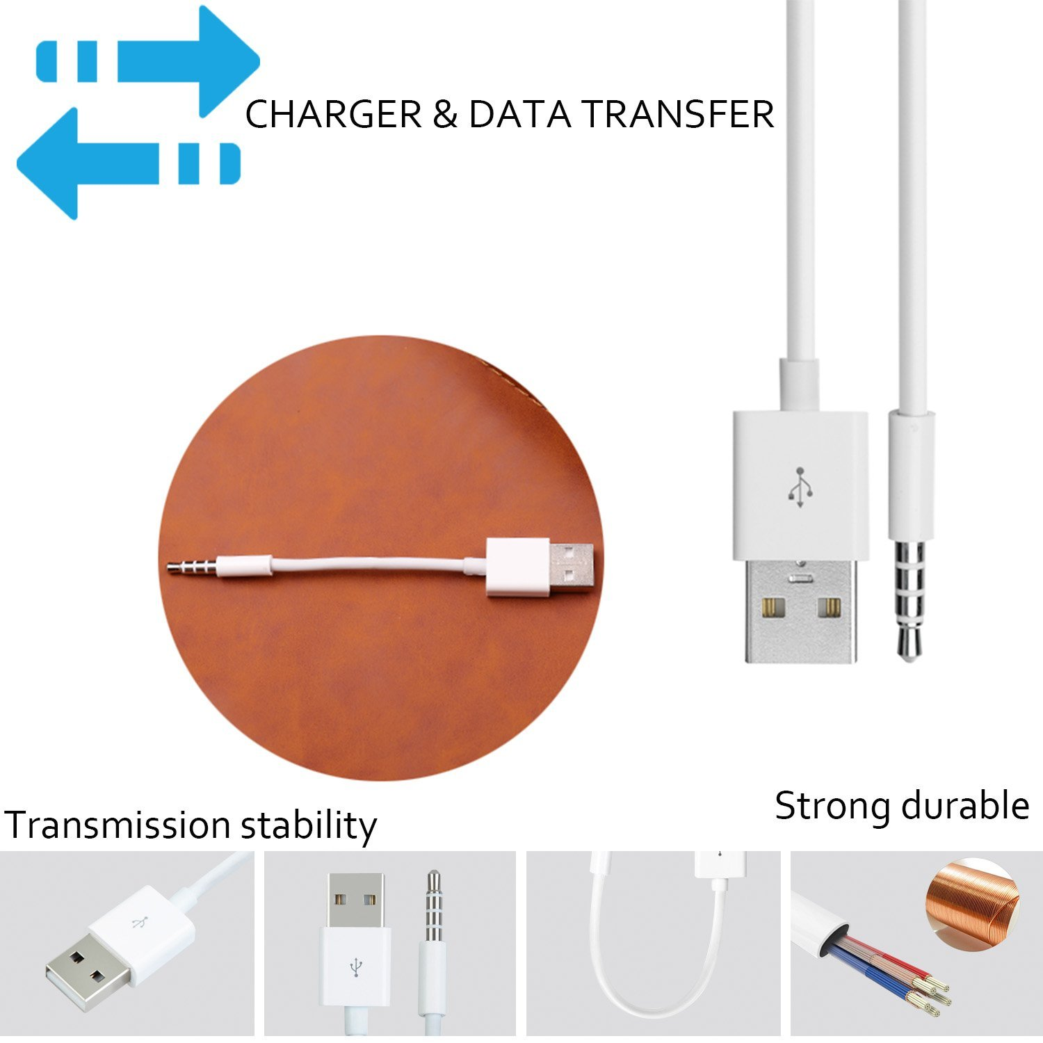 Ipod Shuffle Usb Wire Color Diagram Wiring Cord Charger Detailed Diagramipod Cable 2 Pack 3 5mm Jack