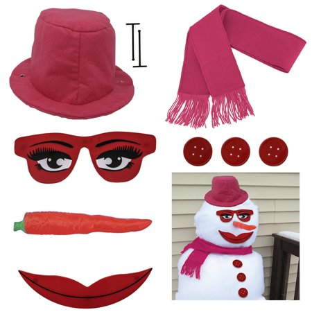 Evelots Lady Snowman Kit-All Pink-Glamorous Eyes/Mouth-Sturdy-Exclusive Design - Snowman Kit