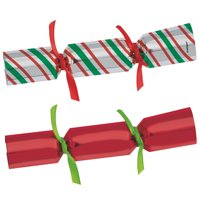 Red and Green Christmas Crackers, Assorted 6ct, Great for Stocking Stuffers