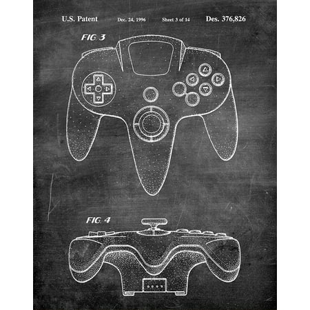 Original Nintendo 64 Game Controller Artwork Submitted In 1996 - Toys and Games - Patent Art Print